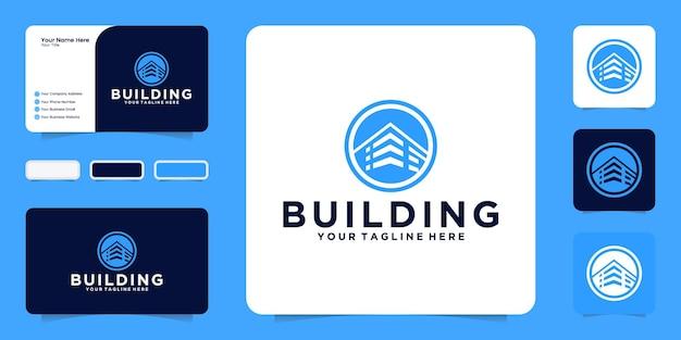 Logotipo de prédio de escritórios com inspiração de círculo e cartão de visita