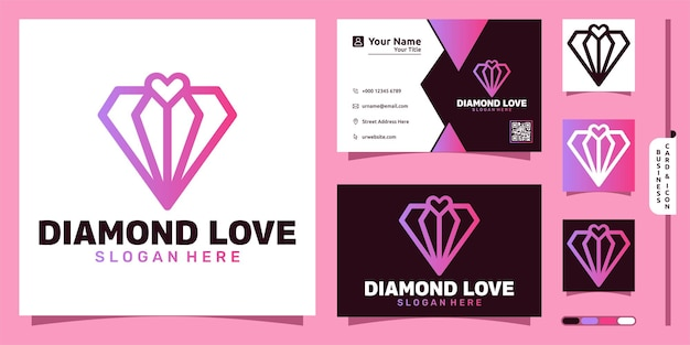 Logotipo de presente de diamante com conceito moderno de amor e design de cartão de visita