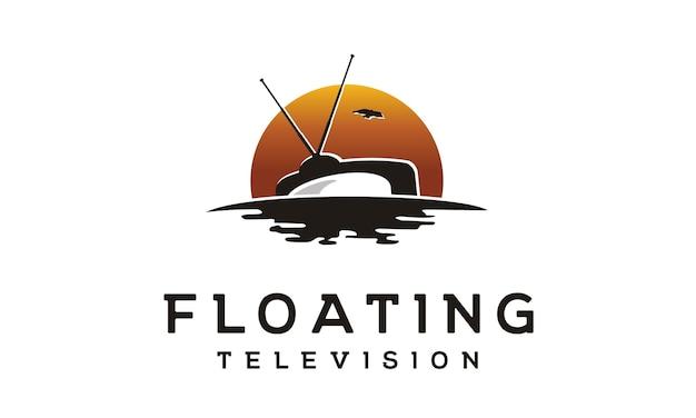 Logotipo de produção de filme de tv flutuante
