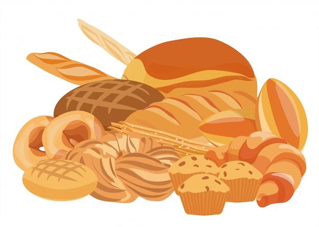Logotipo de produtos de panificação e pastelaria