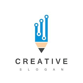 Logotipo de programador criativo com símbolo de lápis de pixel