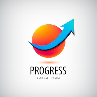 Logotipo de progresso, logotipo de crescimento, logotipo de sucesso financeiro e comercial, ícone, logotipo de seta para cima, esfera, 3d, identidade, logotipo da web, sucesso de carreira Vetor Premium