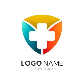 Logotipo de proteção à saúde, escudo + ícone médico