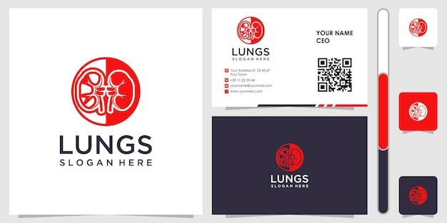Logotipo de pulmões com vetor premium de design de cartão