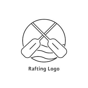 Logotipo de rafting preto de linha fina. conceito de trabalho em equipe, arriscado, impressão de turismo, lazer, exercício perigoso, expedição. isolado no fundo branco. ilustração em vetor design de marca moderna tendência de estilo simples