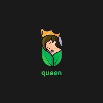 Logotipo de rainha da natureza com conceito de menina, coroa e folha de beleza
