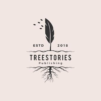 Logotipo de raiz de tinta de pena de pena de árvore hipster retro vintage