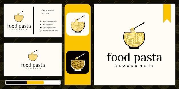 Logotipo de ramen para logotipo de restaurante de fast food comida coreana comida japonesa com cartão de visita Vetor Premium
