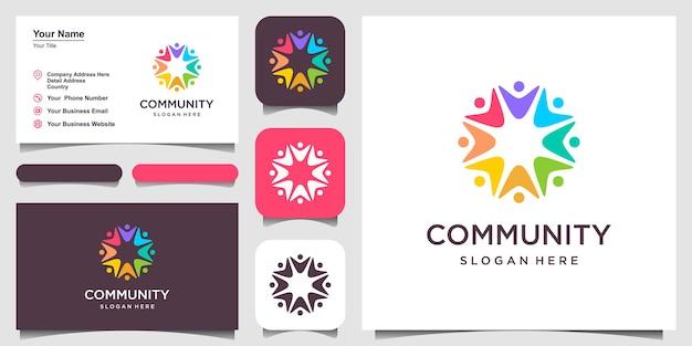 Logotipo de relacionamento social e cartão de visita