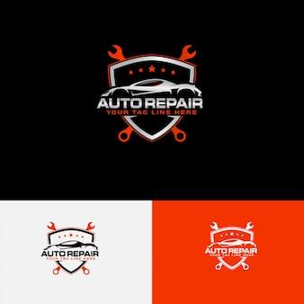Logotipo de reparação automotiva com contorno do carro