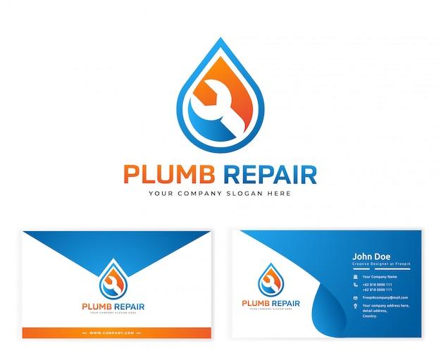 Logotipo de reparação de ameixa com cartão de visita de artigos de papelaria