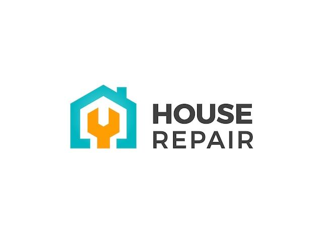 Logotipo de reparo da casa. emblema do projeto de renovação em casa. ferramenta de destroços. sinal de serviço de manutenção.