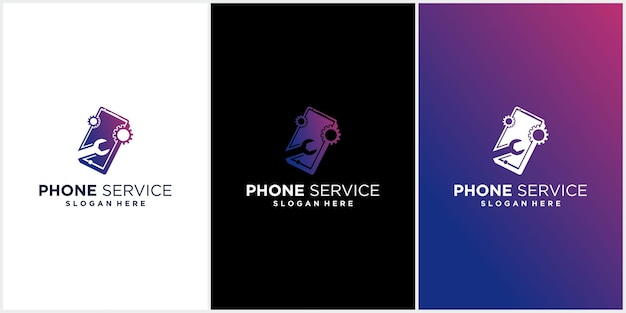Logotipo de reparo de telefone celular tecnologia de reparo de telefone celular logotipo de reparo de telefone celular com cor gradiente