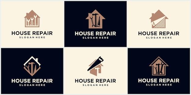 Logotipo de reparo em casa, logotipo de reparo em casa. emblema de ferramenta de melhoramento da casa. ícone da caixa de ferramentas em casa. assine a chave inglesa e a chave de fenda. reparação e renovação. símbolo de serviço de manutenção.