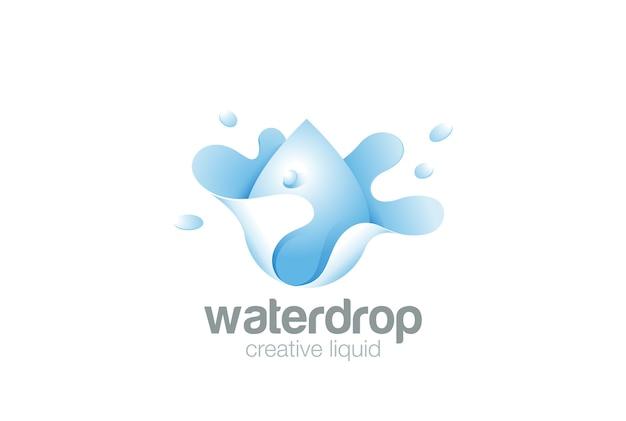 Logotipo de respingo de gota de água isolado no branco