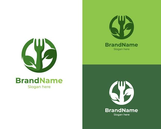 Logotipo de restaurante de comida vegana