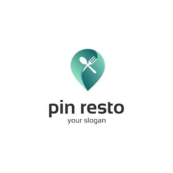 Logotipo de restaurante verde pin