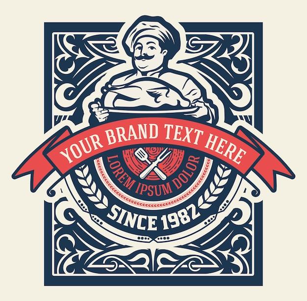 Logotipo de restaurante vintage com chef