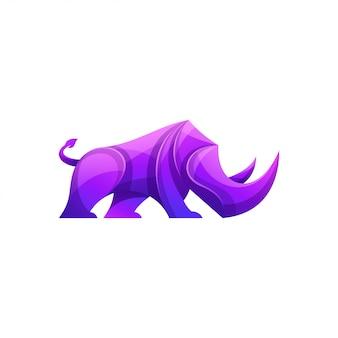 Logotipo de rinoceronte de cores modernas