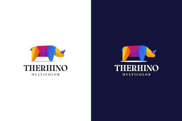 Logotipo de rinoceronte gradiente moderno abstrato colorido