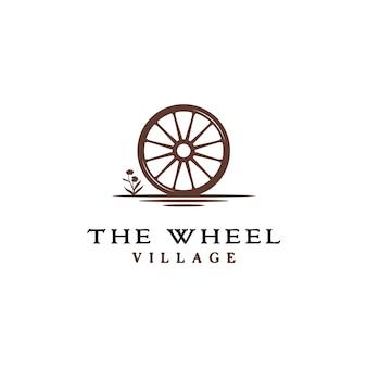 Logotipo de roda de carrinho de madeira velho vintage