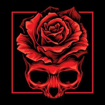 Logotipo de rosas de caveira vermelha