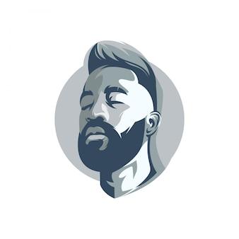 Logotipo de rosto de homem barbudo