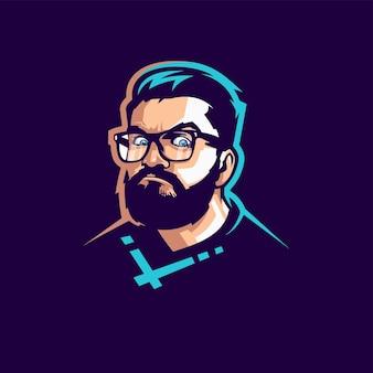 Logotipo de rosto de homem com vetor