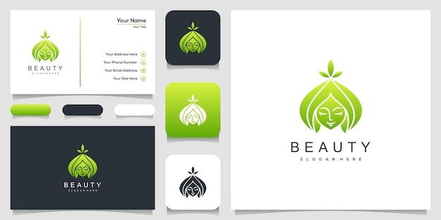Logotipo de rosto de mulher bonita e design de cartão de visita