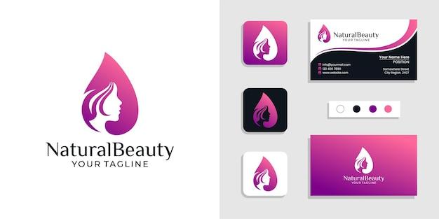 Logotipo de rosto de mulher de beleza natural e modelo de cartão de visita