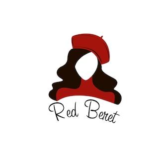 Logotipo de rosto de mulher de boina vermelha