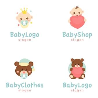 Logotipo de roupas de bebê, ilustração da marca, bebês e ursos, loja de bebês