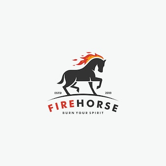 Logotipo de running horse with flame fire