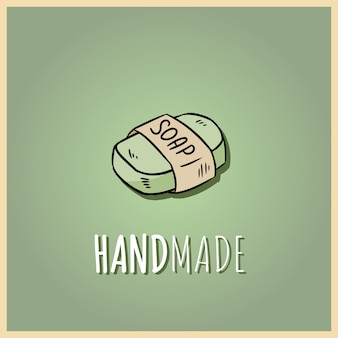 Logotipo de sabonete artesanal natural. mão ilustrações desenhadas de cosméticos orgânicos.