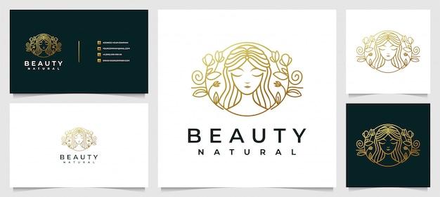 Logotipo de salão de cabeleireiro de mulher moderna com combinação de flores