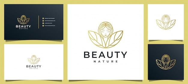 Logotipo de salão de cabeleireiro de mulher moderna com combinação de folhas
