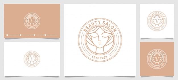 Logotipo de salão de cabeleireiro de mulher moderna com estilo de linha de arte