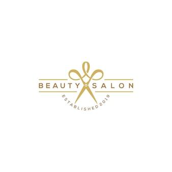 Logotipo de salão de corte de cabelo de beleza com tesoura