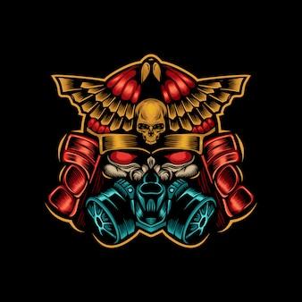 Logotipo de samurai de máscara de gás