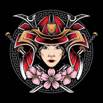Logotipo de samurai de mulheres japonesas