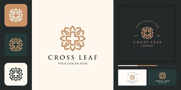 Logotipo de saúde natural, logotipo de combinação de folhas cruzadas