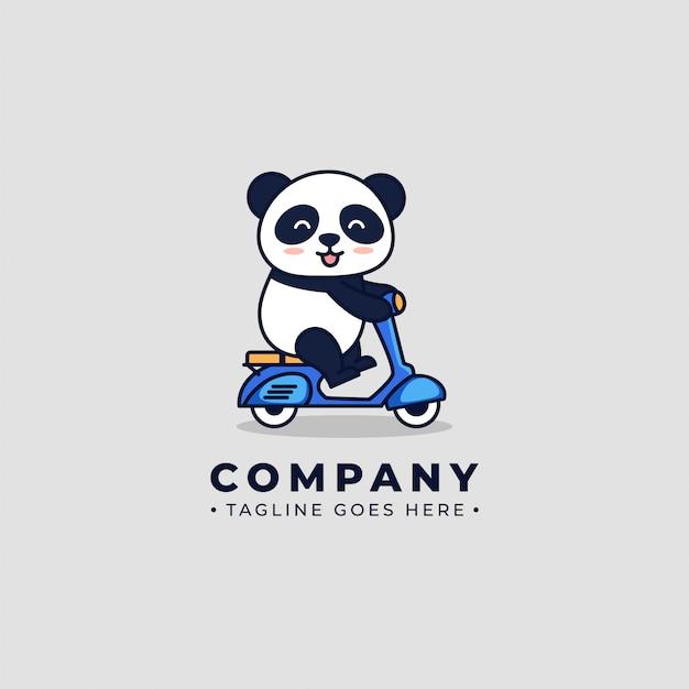 Logotipo de scooter de equitação panda