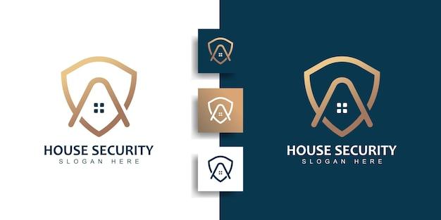Logotipo de segurança da casa com conceito de escudo