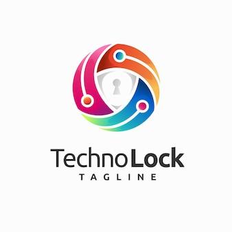 Logotipo de segurança digital com conceito de escudo