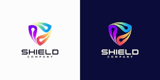 Logotipo de segurança gradiente com escudo, segurança na internet,