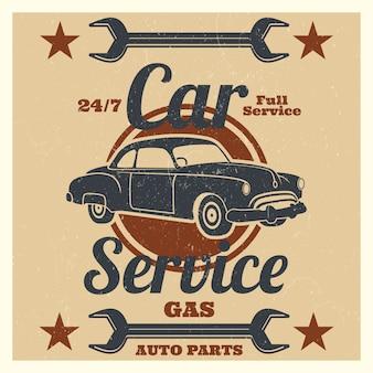 Logotipo de serviço de carro antigo - grunge de reparação auto