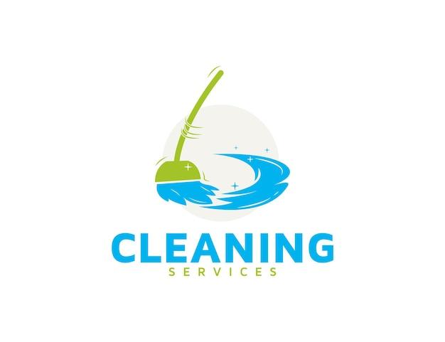 Logotipo de serviços de limpeza com ilustração de esfregão