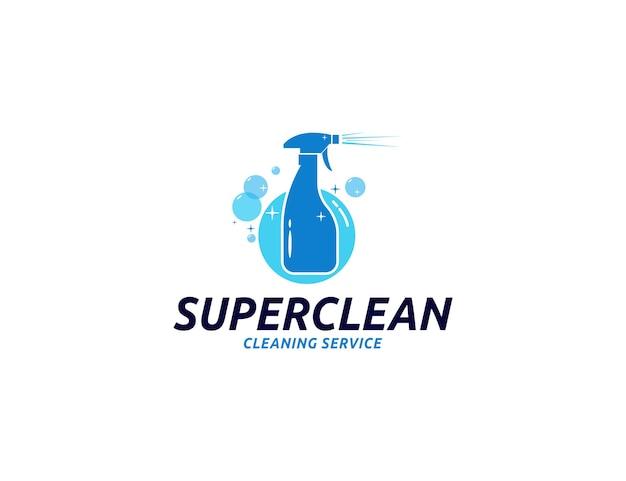 Logotipo de serviços de limpeza com ilustração de spray de garrafa