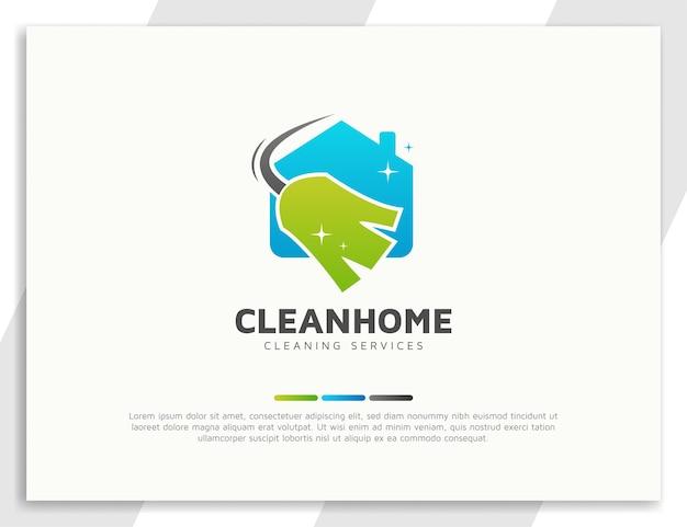 Logotipo de serviços de limpeza com ilustração de vassoura e casa