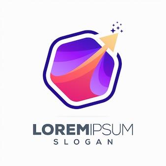Logotipo de seta abstrata hexágono colorido